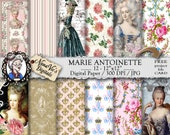 Marie Antoinette Digital Papers:  shabby chic vintage collage sheet, Queen of France toile patterns, journal Scrapbooking paper, Photography