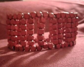 Red Wooden Bead Cuff Bracelet