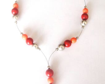 Red and orange coral beads necklace