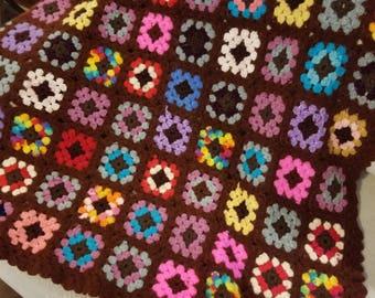 Vintage Handmade Granny Square Crochet Knit Afghan Blanket