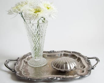 Vintage Silver Plate Clam Shell Butter Dish Leonard Silver Hong Kong Ornate Butter Dish