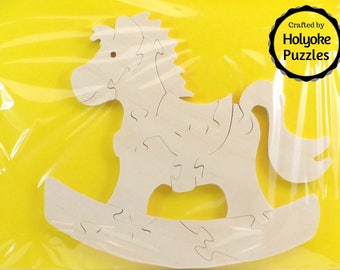 Rocking Horse Wood Puzzle - Color Your Own Craft Puzzle - Kids Craft Project