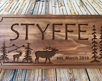 Custom Cabin Signs, Personlized Signs, Cabin Decor, Wooden carved sign, Mountains, elk,  Wood carved Signs, Custom Signs, Benchmark Signs