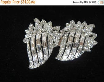 SUMMER SALE CORO Duette Crystal Clear Baguette & Chaton Brooch/Dress Clip - Signed