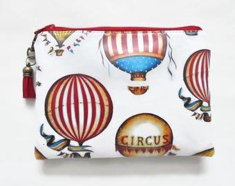 Waterproof pouch, hot air balloon, carnival theme, waterproof wallet zipper pouch.