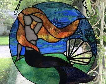 "Mermaid Stained Glass Window Panel Large Suncatcher 11"" x 11"" Round"