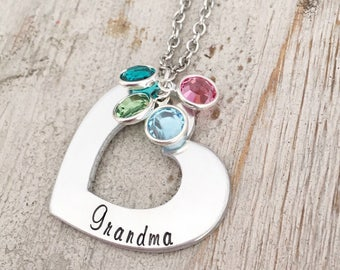 Grandma Necklace Birthstone - Pendant Necklace For Grandma - Gift From Grandkids - Silver Toned Personalized Open Heart Necklace