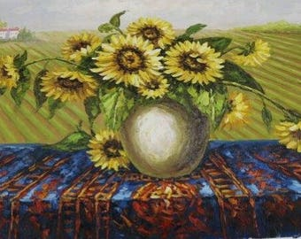 "ORIGINAL OIL PAINTING - 'Sunflowers in Vase' - Stillife - 24"" X 36"" Streched"