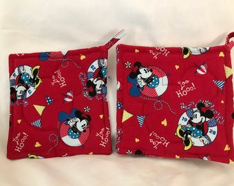Micky & Minnie Mouse Pot holders set of 2