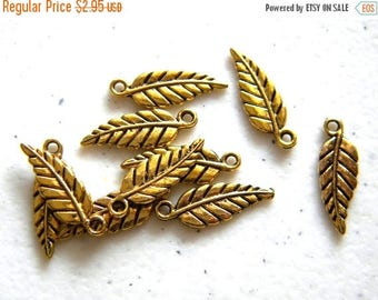 HALF PRICE 10 Gold Plated Leaf Charms
