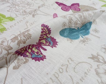 Butterfly Table Cloth. Linen Tablecloth 54x87. Natural Linen Table Cloth. Spring Floral pattern with Butterfly