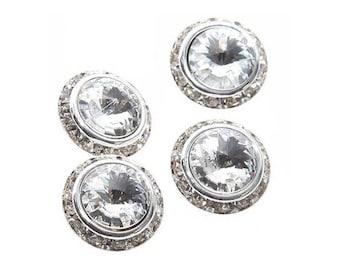 Bouton en strass cristal  et métal  argenté 16 mm