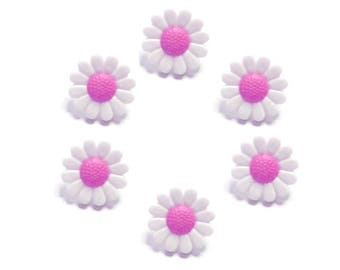 buttons 6 mm pink and white daisy flowers