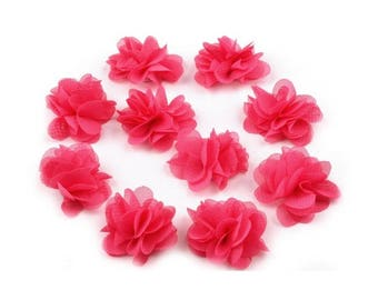 Set of 10 small flowers in hot pink veil