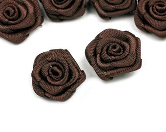 10 pink flowers Brown satin 15 mm