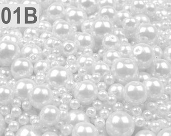 01-B - 100 g of 4-12 mm glass pearl beads different sizes