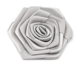 2 flowers satin grey bead 7 cm