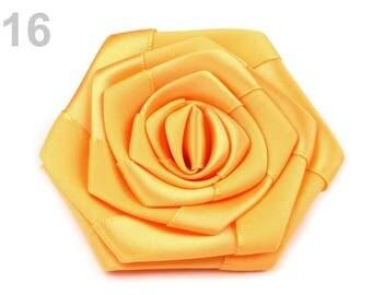 2 flowers satin sunshine yellow 7 cm