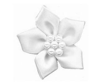 4 poinsettia flower satin and white pearls