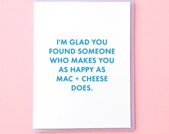 Mac and Cheese Card. Carbs Card. Wedding Card. Funny Engagement Card. Wedding Shower Card. Best Friend Wedding. Card for Bride to Be