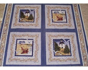 1 yard  nautical pillow panels. 4 pictures per yard. U CHOOSE. Seabound or By the Sea