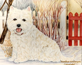 "8x10 Giclee Print, West Highland White Terrier , ""Winter Westie"", free shipping to Canada and the U.S.A., dog art, Heather Anderson"