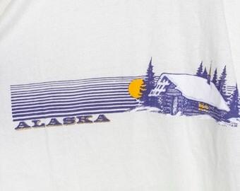 1985 ALASKA cabin soft & thin t shirt - vintage 80s