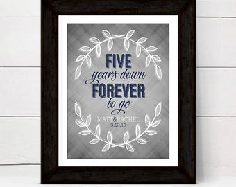 5 years down forever to go | personalized fifth anniversary gift for wife | five year anniversary gift for her | printable, print or canvas