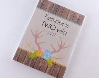 Photo Album Two Wild Birthday Gift Girl Keepsake Antler Chic Personalized Second 2nd Party Present 4x6 or 5x7 picture #814