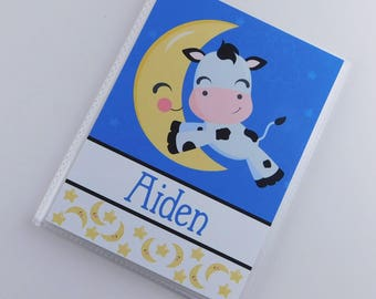 Photo Album Baby Boy Personalized Shower Gift Grandmas Brag Book Nursery Rhyme Hey Diddle Diddle Cow Jumped over Moon 4x6 or 5x7 Picture 831