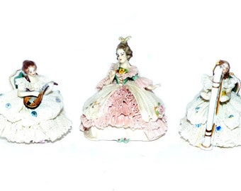 Vintage Dresden Lace Figurines Germany by Frankenthal and Volkstedt Musicians  Miniature Dresden Lace Figurines 4'' and 3'' Tall