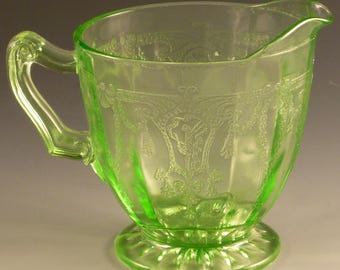 Cameo Creamer Ballerina Green Depression Glass Dancing Girl 3 1/4 Inch Footed Hocking Glassware Vintage Authentic Excellent Condition
