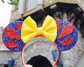 Snow White Mouse Ears Headband | Minnie Mouse Birthday | Mickey Headband Minnie Ears | Snow White Mouse Ears| Snowwhite Mouse Ears