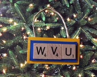WVU West Virginia Mountaineers Christmas Ornament Scrabble Tiles