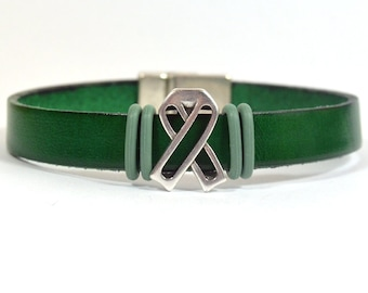 Liver Disease Awareness Bracelet - Kelly Green 10mm Flat Leather with Antique Silver Ribbon Slider and Magnetic Clasp (5F-542)