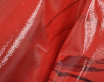 """Fashion Hibiscus Rain Red Leather Cow Hide 12"""" x 12"""" Pre-cut 2 1/2 ounces DE-62941 (Sec. 6,Shelf 4,A)"""