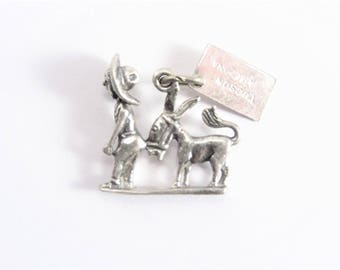 Vintage Miner Man and Donkey Sterling Charm Tuscon Arizona