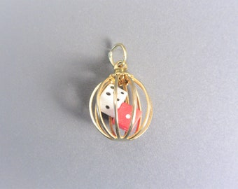 Vintage Caged Dice Charm Gold Tone
