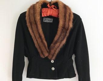 Vintage Jill Stuart Cropped Wool Jacket with Fur Collar, Black, XS, Small