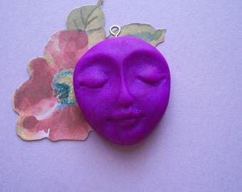 "Polymer Clay Face Pendant,Charm,29mm tall by 1"" wide,handmade supply,Magenta,Purple pearl,focal bead,earring,SILVER TONE eyelet"