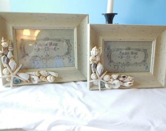 SeaShell Picture Frame-Beach Frame-Shell Photo Frame-Distressed Shell Frame-Shabby Chic Frame