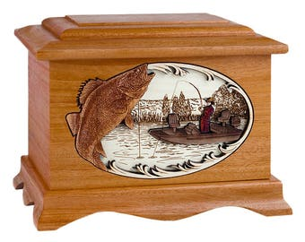 Mahogany Walleye Fishing Boat Ambassador Wood Cremation Urn