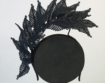 Black Lace Leaves Headband Fascinator Hatinator Spring Racing Carnival Party Wedding Bridal Fashion Accessory Melbourne Cup