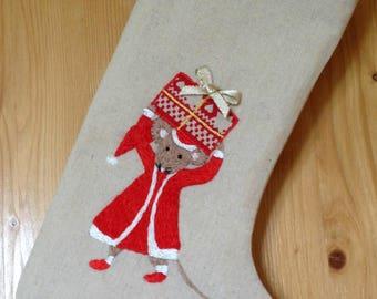 Hand Embroidered Christmas Stocking, Linen Christmas Stocking, Traditional Christmas Stocking, Mouse Christmas Stocking, Xmas Stocking