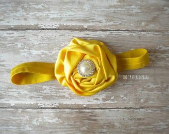 Mustard headband, mustard yellow headband, M2M Matilda Jane Enchanted Afternoon dress, fall headband, fall colors, mustard bow