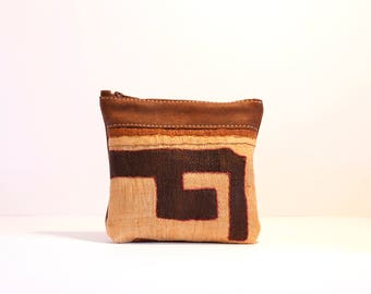Small Brown Leather Clutch with Kuba Cloth - Boho Leather Clutch - African Purse - Safari Theme Wedding - Boho Bridesmaid Clutch
