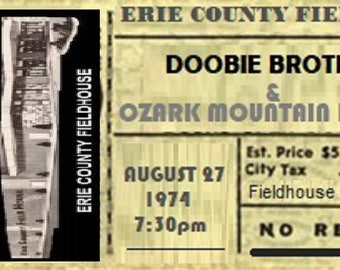 The Doobie Brothers /Ozark Mt. Daredevils Erie, Pa 1974 Ticket Stub Poster11in by 17in and Laminated / China Grove / Listen To The Music