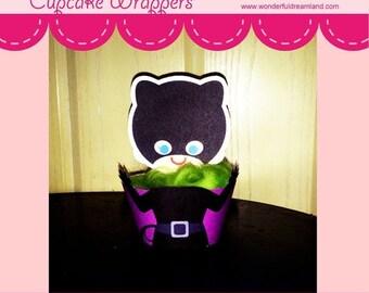 50% OFF Superhero Villain Girl Cupcake Wrapper - PDF Instant Download Printable Digital File