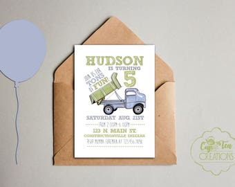 Dump Truck Birthday Invitation, Construction Birthday Invitation, Truck Birthday Invitation,