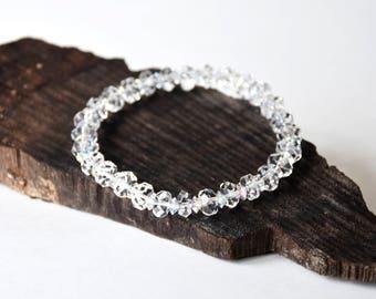 Handmade Swarovski White Crystal Bangles, Bracelet